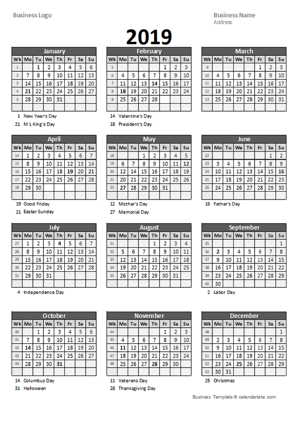 2019 Yearly Business Calendar With Week Number - Free