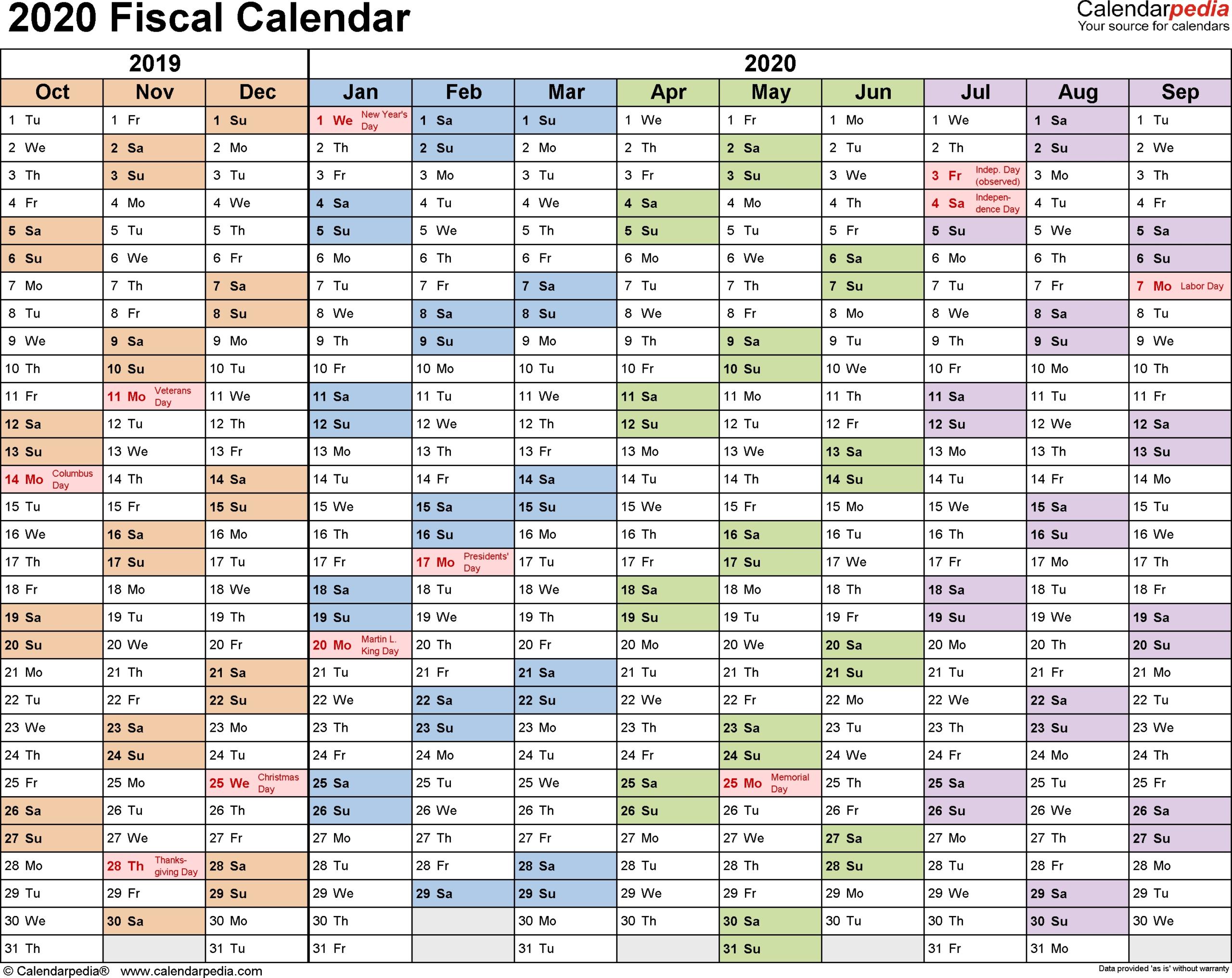 2020 20 Australian Financial Year Calendar - Template