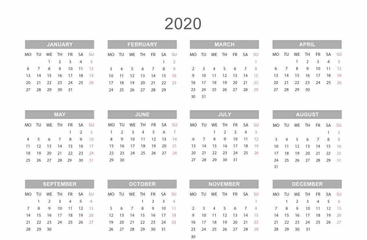 2020 Calendar Template Pdf, Word, Excel Free Download