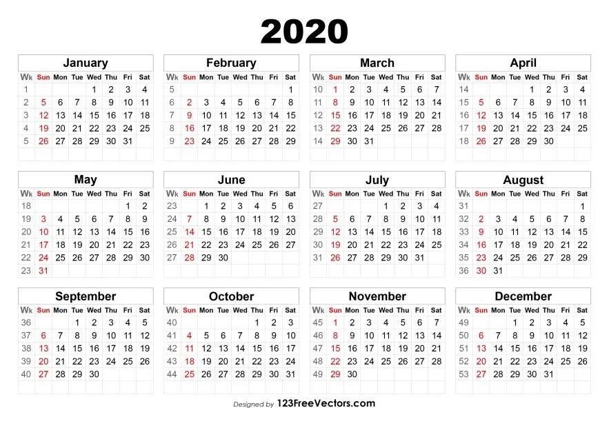 2020 Calendar With Week Numbers | Calendar With Week