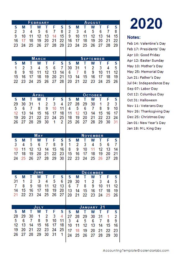 2020 Fiscal Period Calendar 4-4-5 - Free Printable Templates