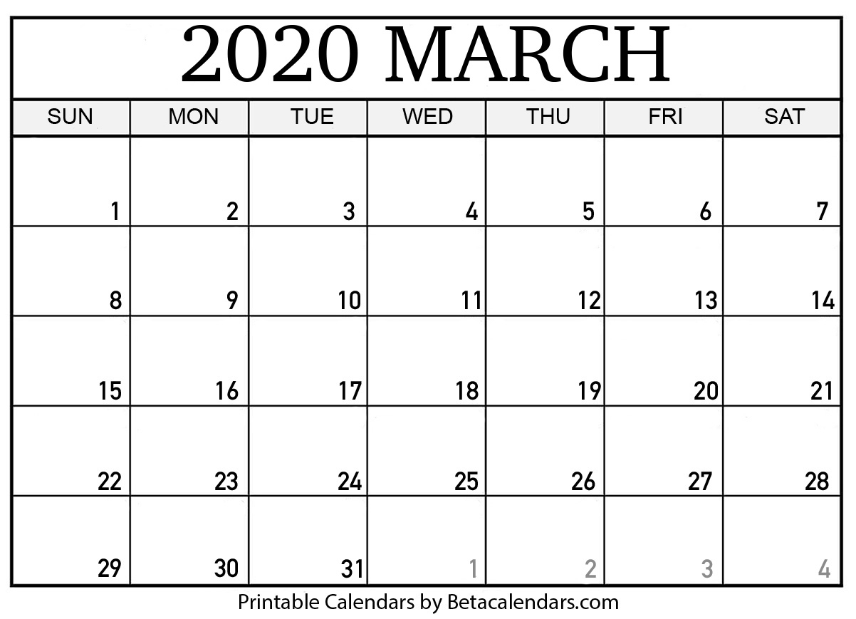 2020 Free Printable Calendar Large Numbers   Calendar
