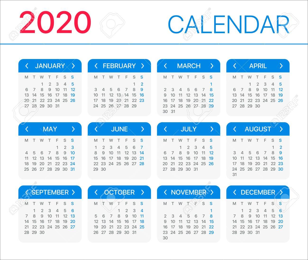 2020 Monday Through Sunday Calendar Template   Calendar