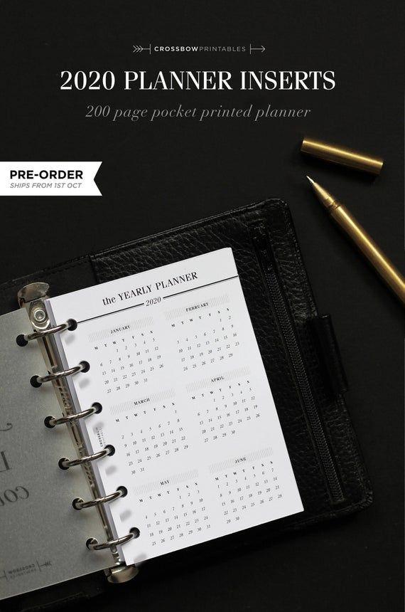 2020 Pocket Inserts Printed Filofax Pocket 2020 Calendar