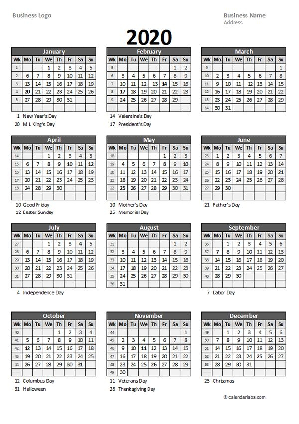2020 Yearly Business Calendar With Week Number - Free