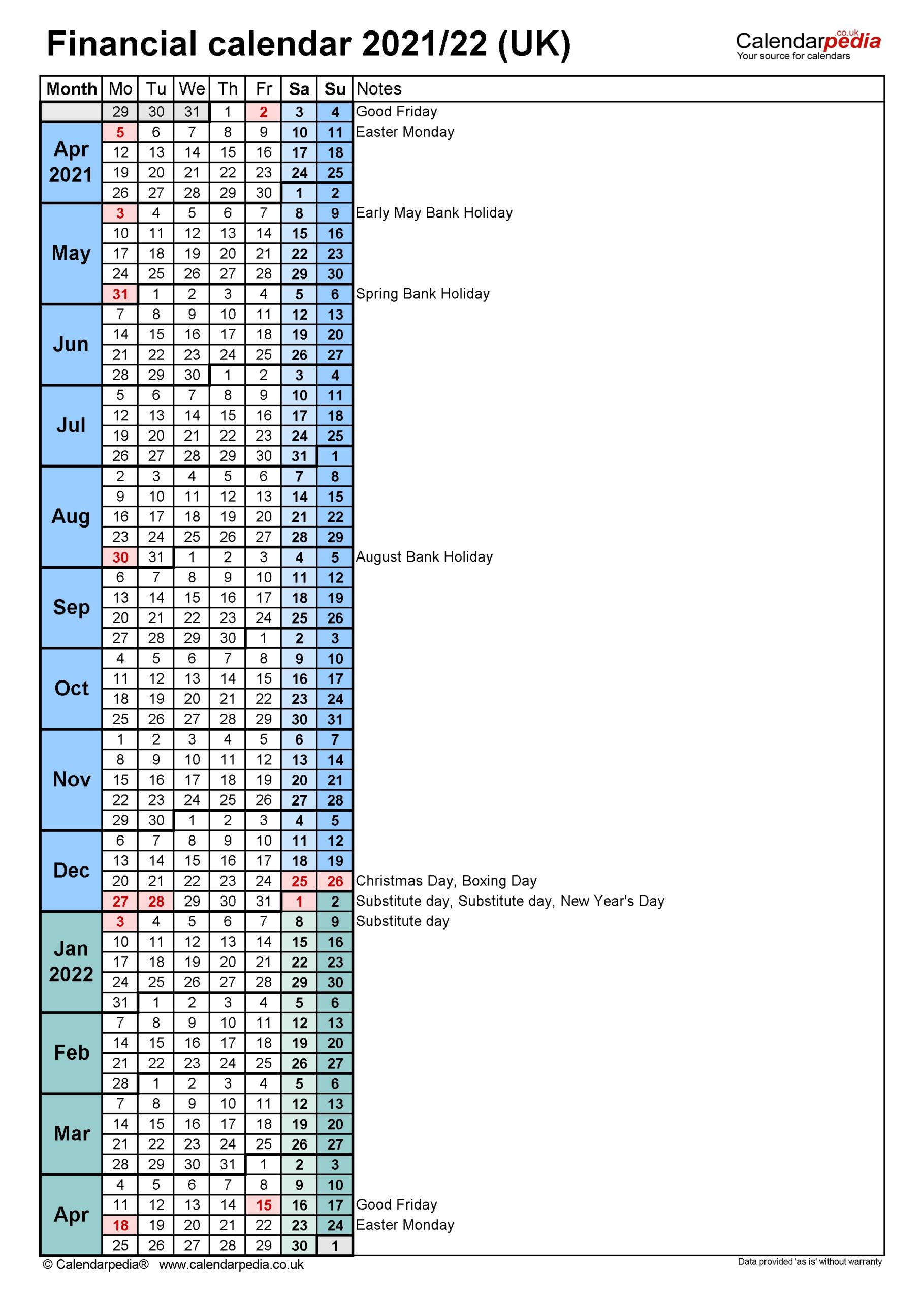 2021-19 Financial Calendar Dates - Template Calendar Design