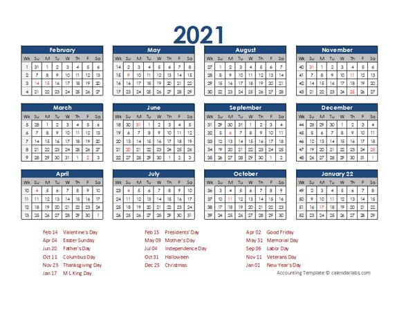 2021 Accounting Calendar 4-5-4 - Free Printable Templates