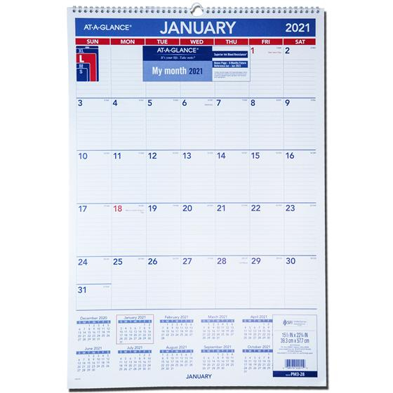 2021 At-A-Glance Pm3-28, Monthly Wall Calendar 15-1/2 X 22