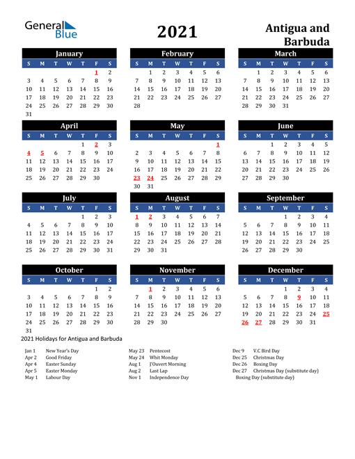 2021 Calendar - Antigua And Barbuda With Holidays