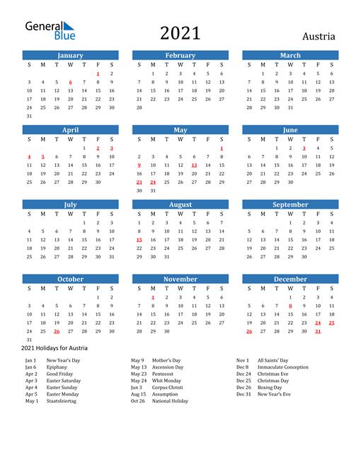2021 Calendar - Austria With Holidays