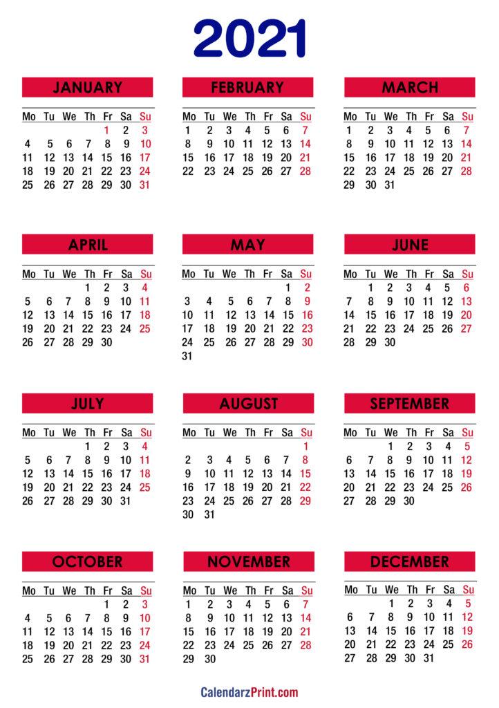2021 Calendar Printable Free, Colorful - Monday Start