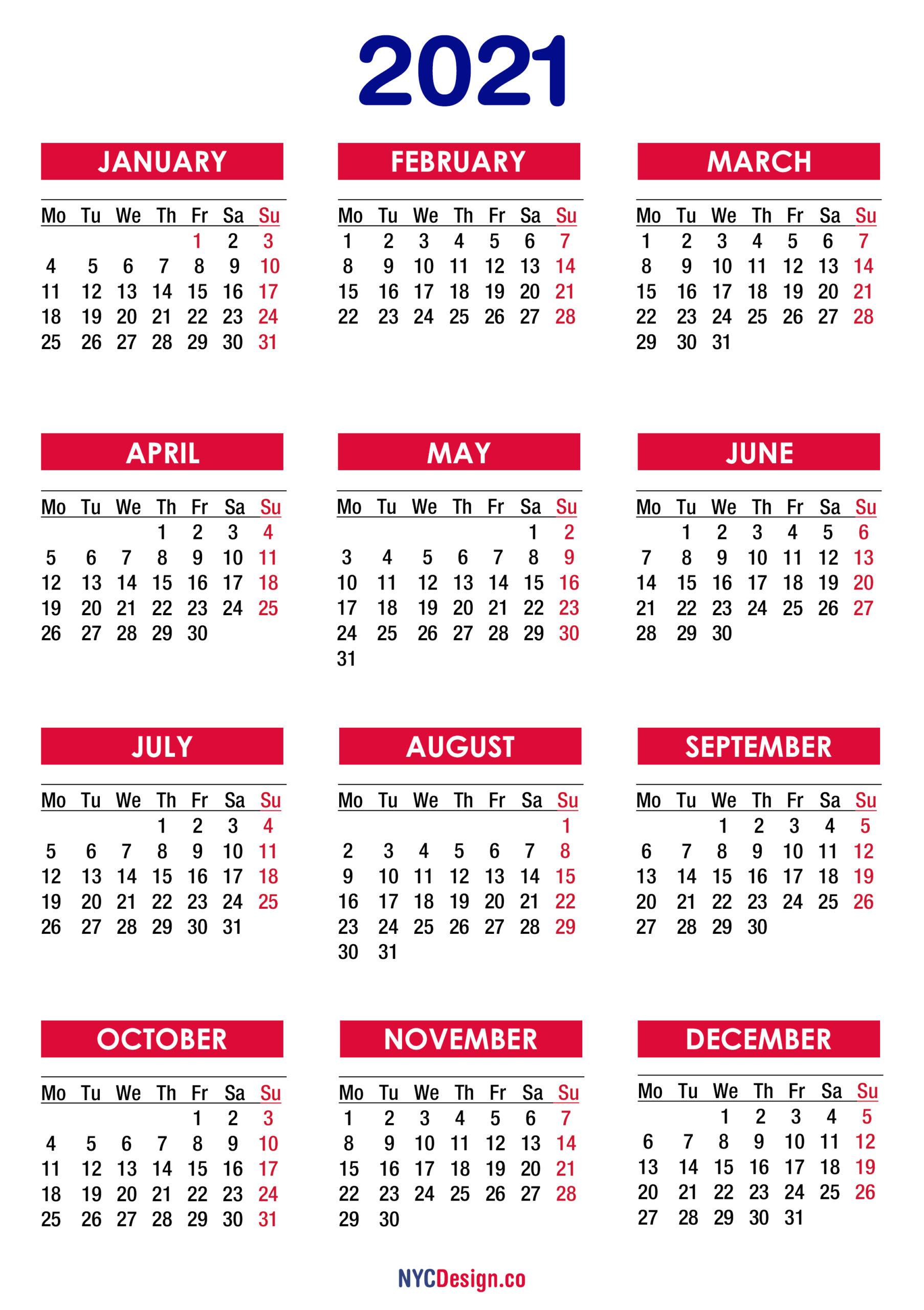 2021 Calendar Printable Free, Pdf, Colorful - Monday Start