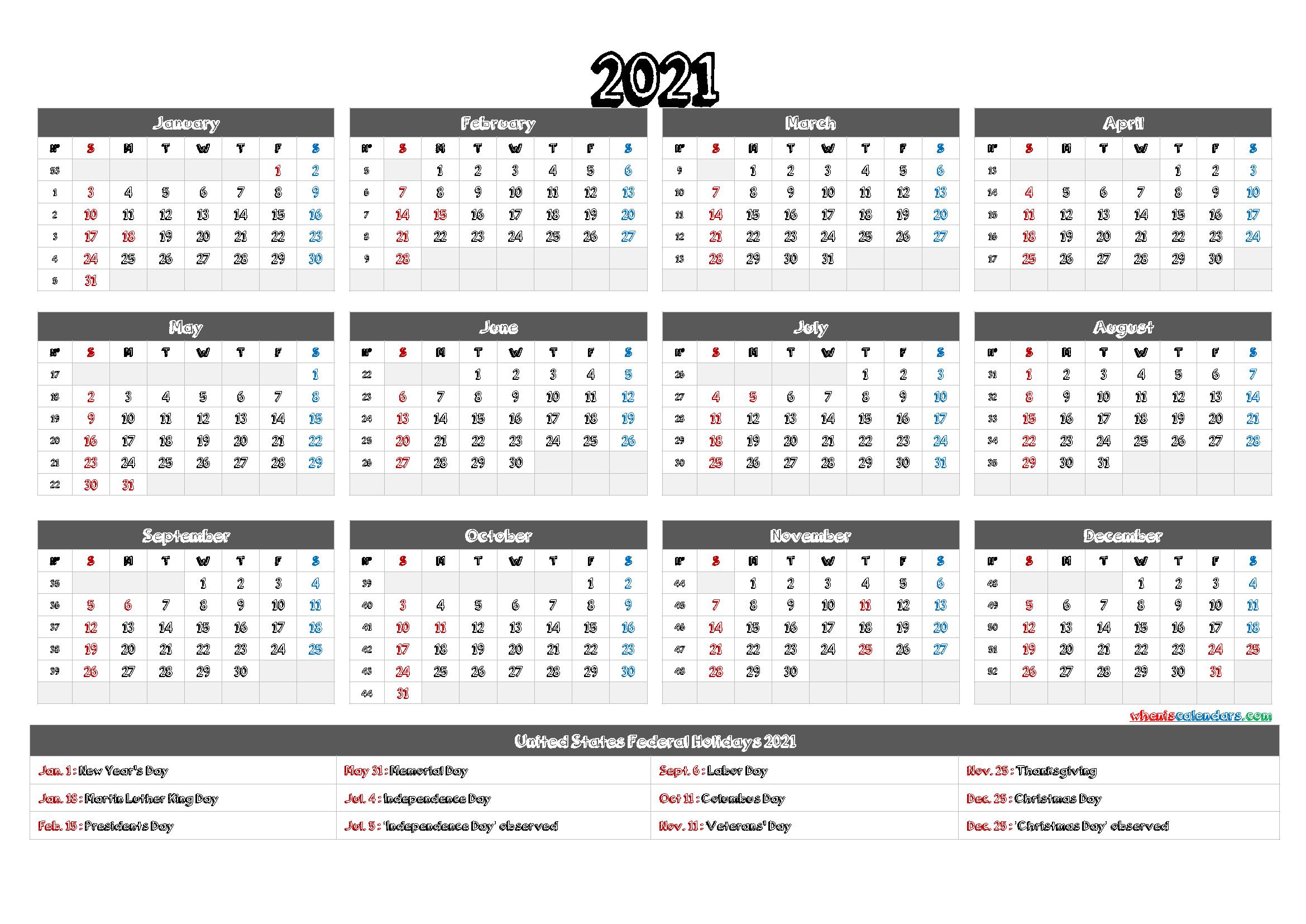 2021 Calendar Printable Pdf - 12 Templates - Free 2020 And