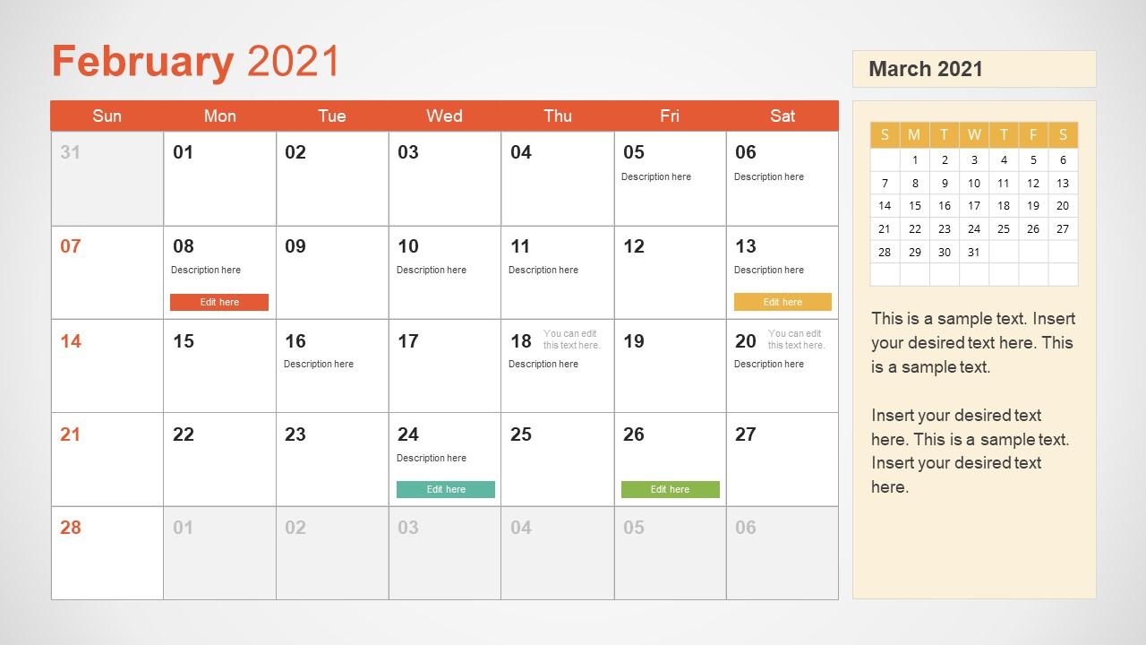2021 Calendar Template February Powerpoint - Slidemodel