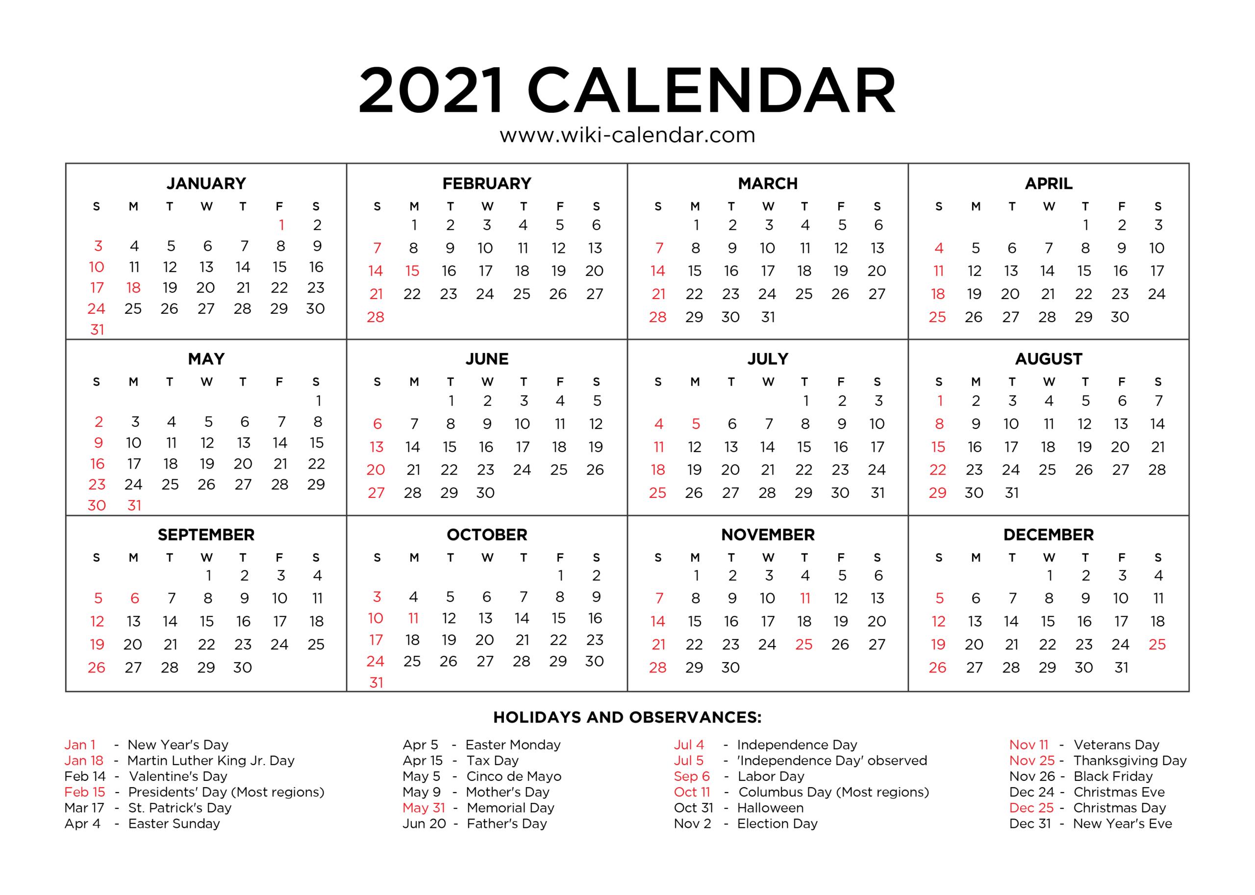 2021 Calendar To Fill In | Calendar Template Printable