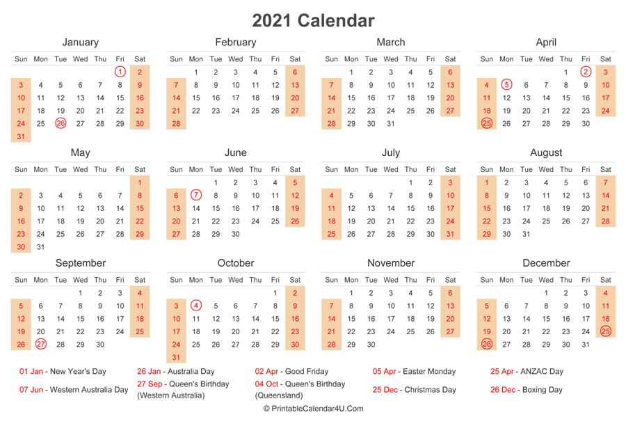 2021 Calendar With Australia Holidays At Bottom (Landscape