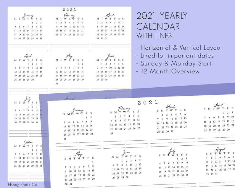 2021 Calendar With Lines 12 Months Year At A Glance Insert
