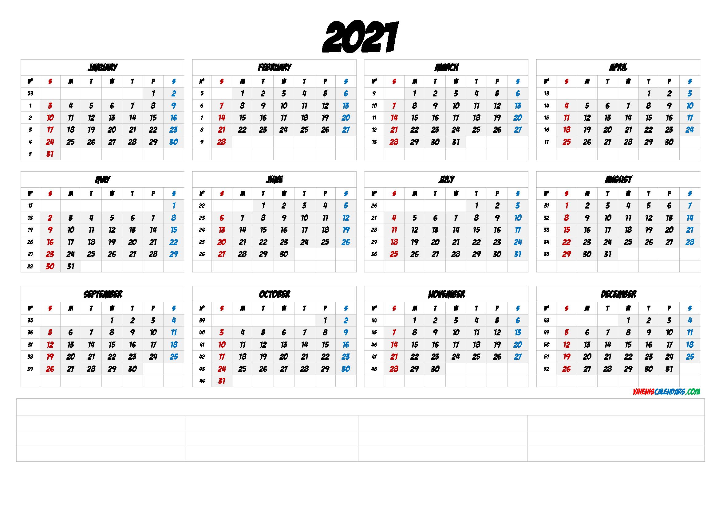 2021 Calendar With Week Number Printable Free / 2021