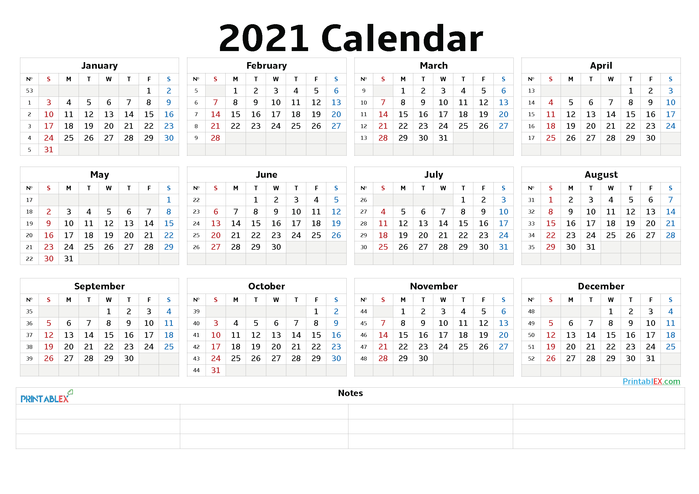 2021 Calendar With Week Number Printable Free / All You