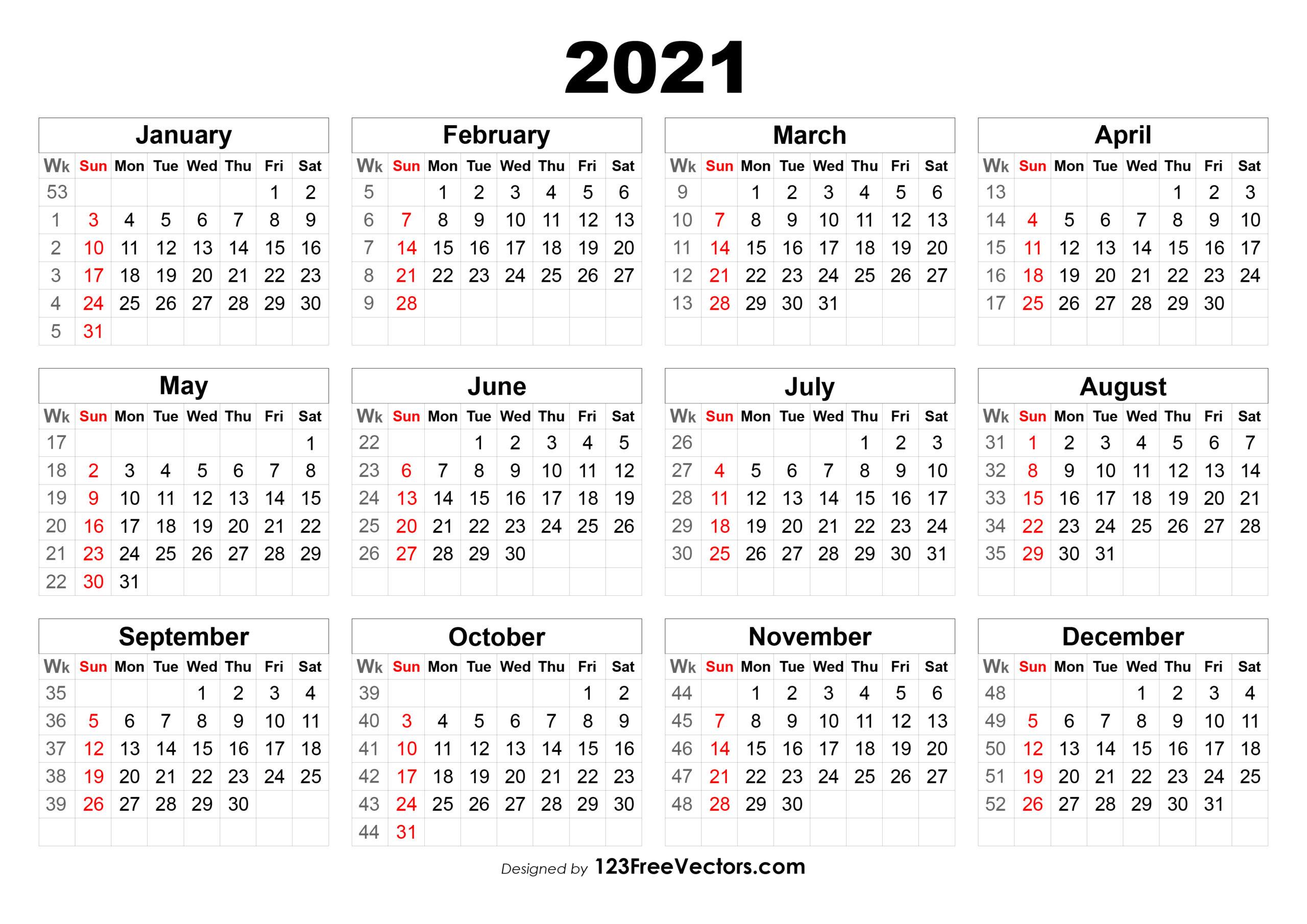 2021 Calendar With Week Number Printable Free - Calendar