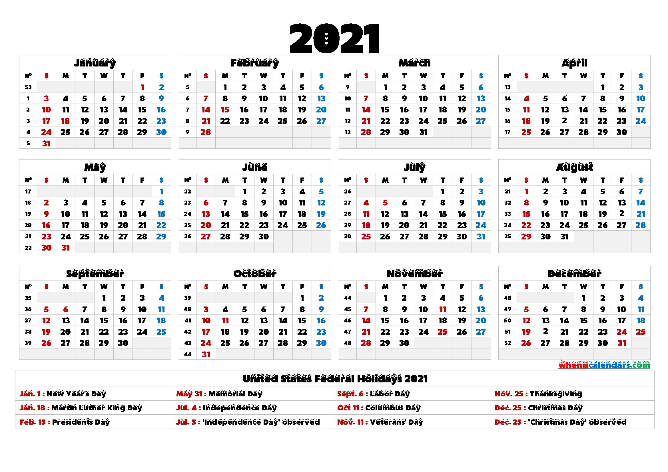 2021 Calendar With Week Number Printable Free - Free