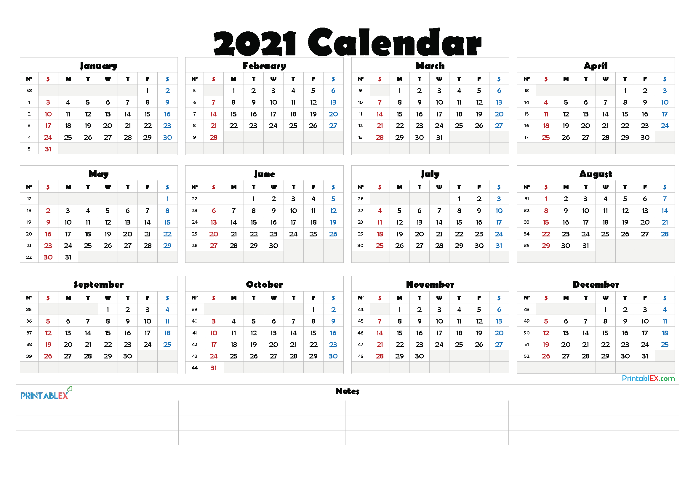 2021 Calendar With Week Number Printable Free - Week