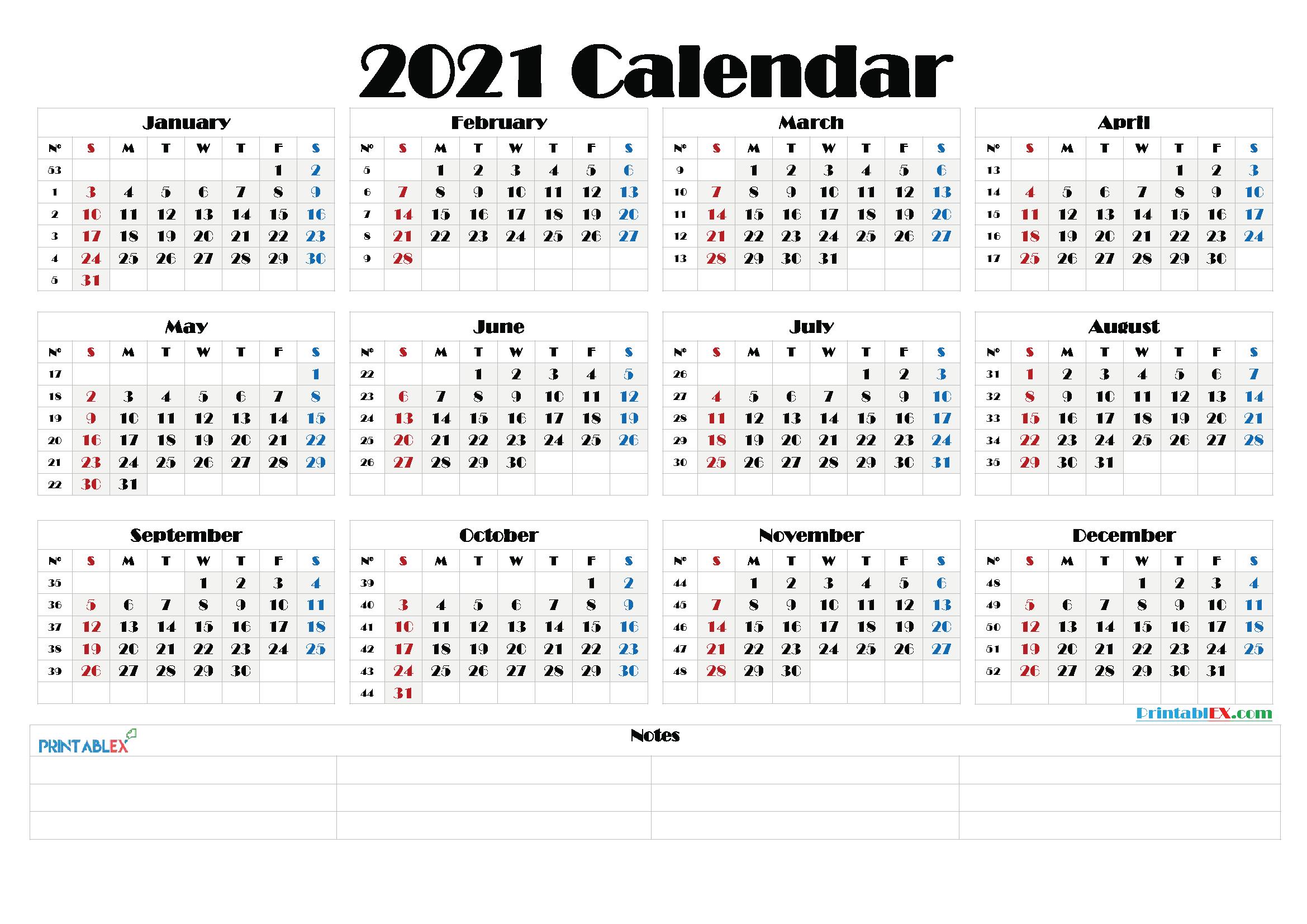 2021 Calendar With Week Number Printable Free : Weekly
