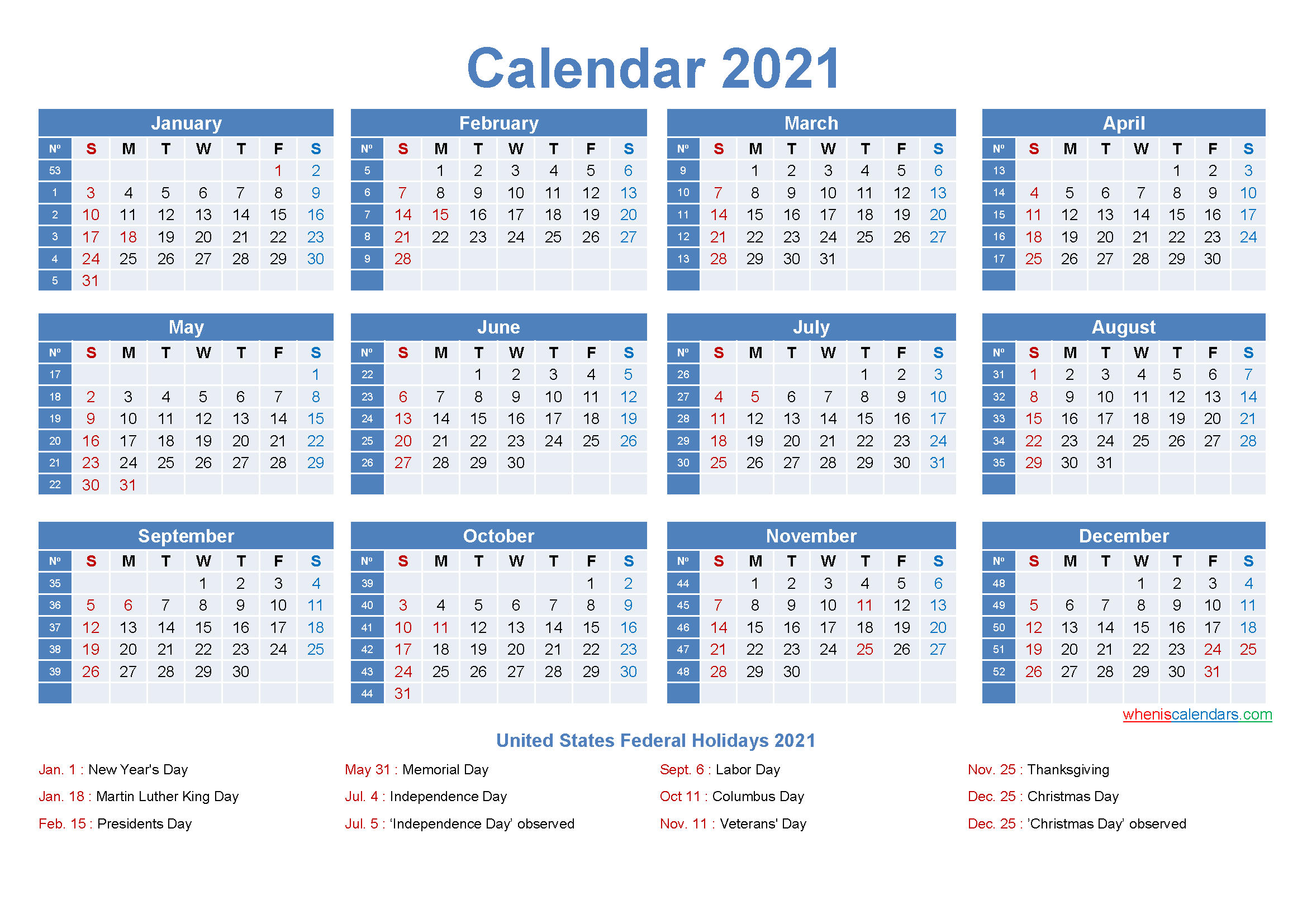 2021 Calendar With Week Numbers And Holidays   Calendar 2021