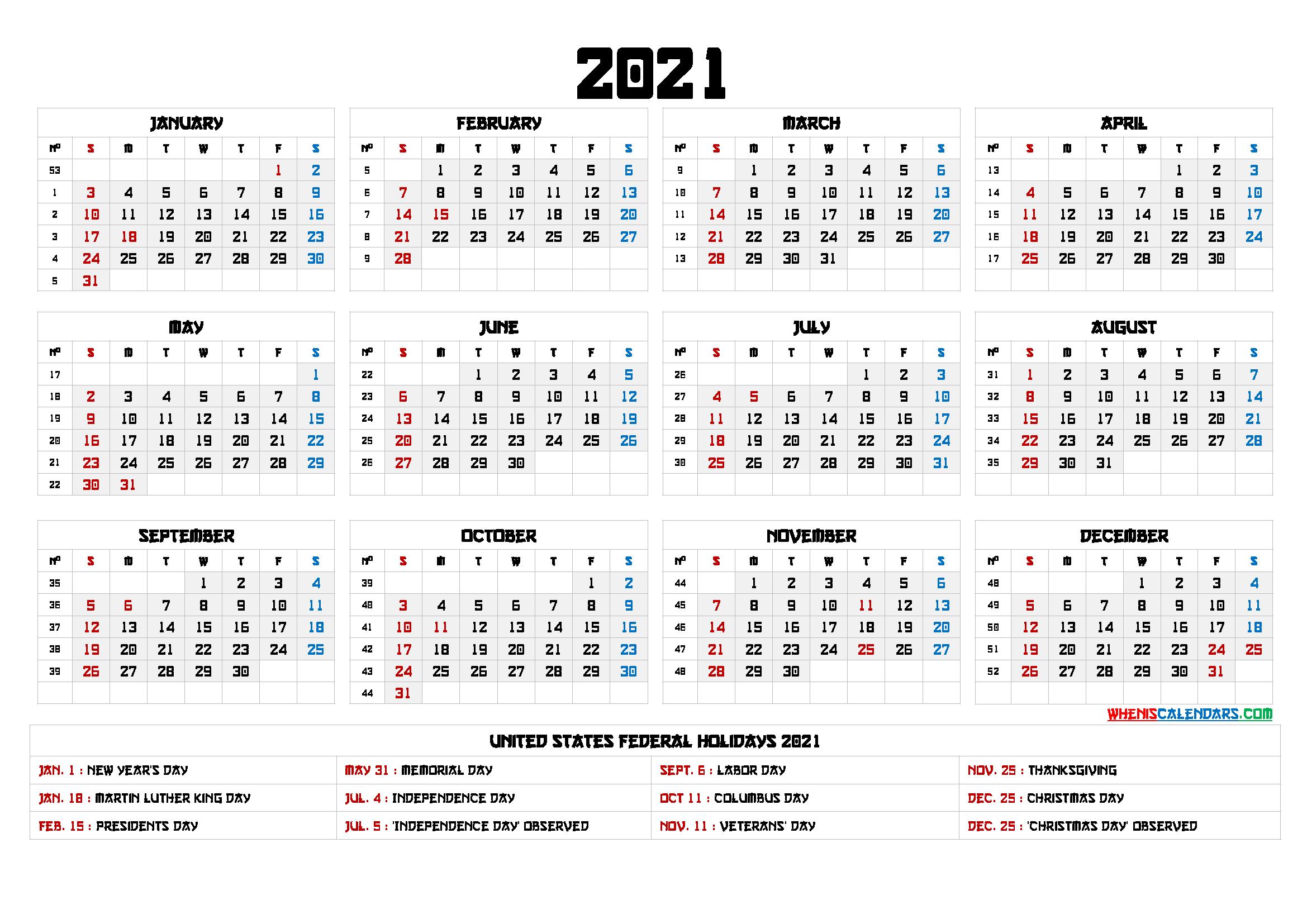 2021 Calendar With Week Numbers Printable - 6 Templates