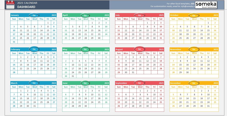 2021 Calnderweek No Excel | Calendar Template Printable