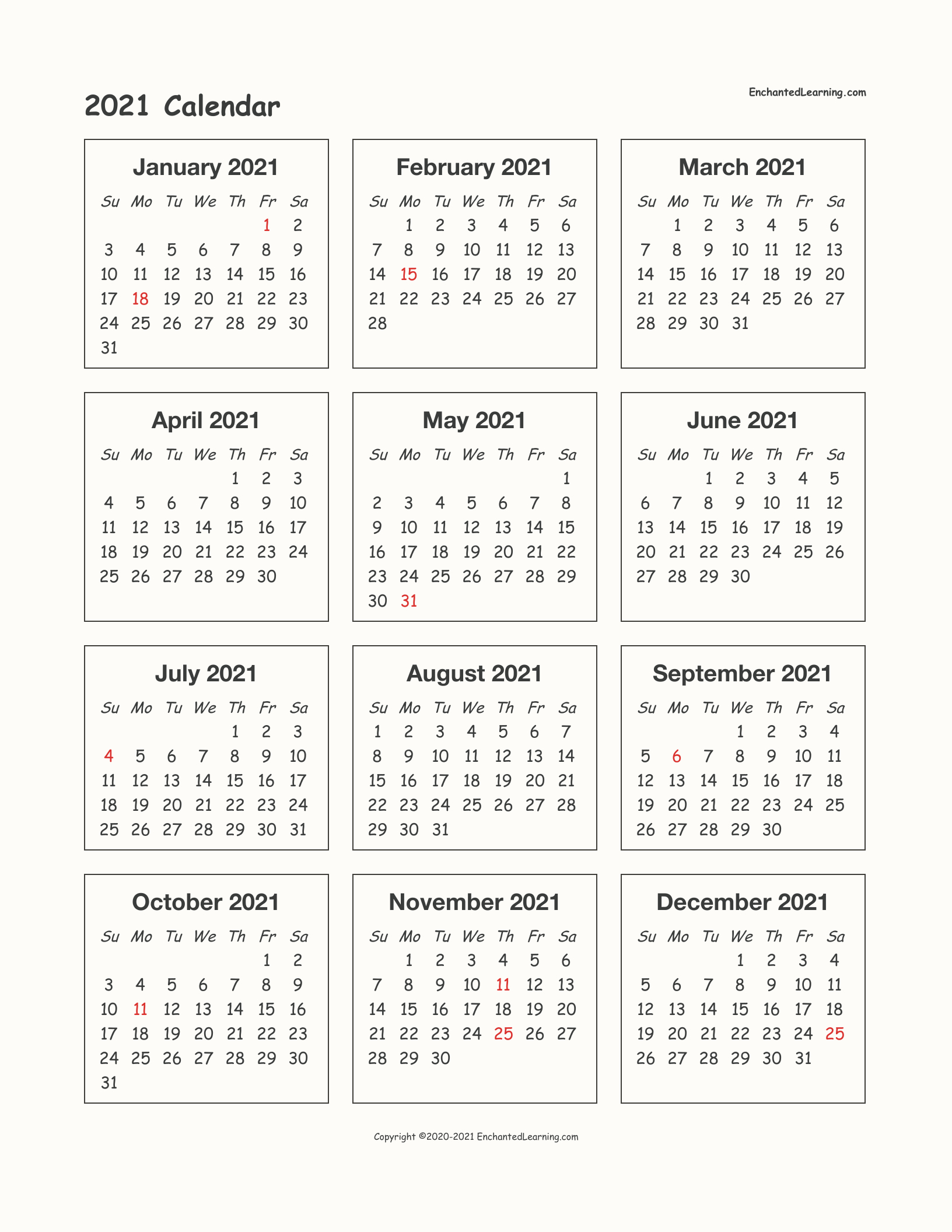 2021 One-Page Calendar - Enchanted Learning
