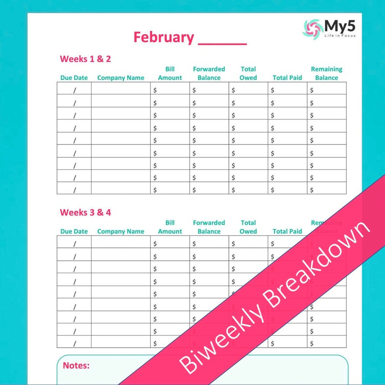 2021 Printable Monthly Bill Tracker And Planner With | Etsy