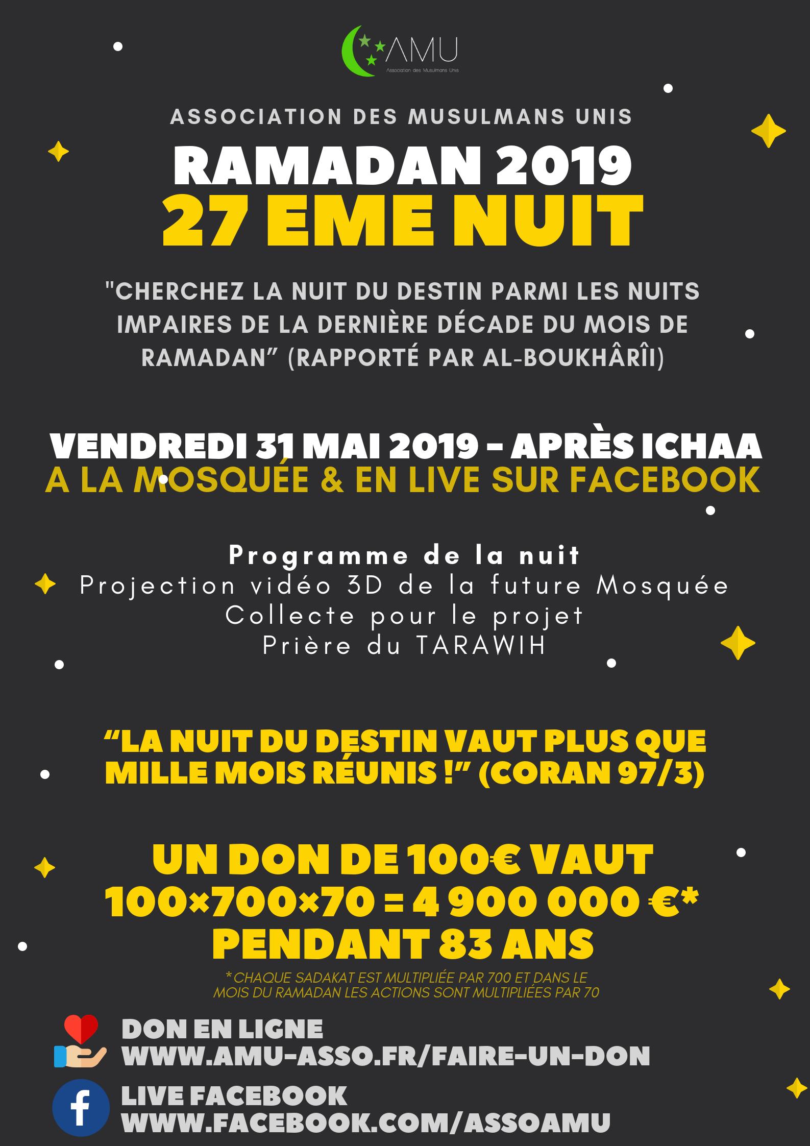 27Eme Nuit De Ramadan 2019 - Mosquée De Teisseire