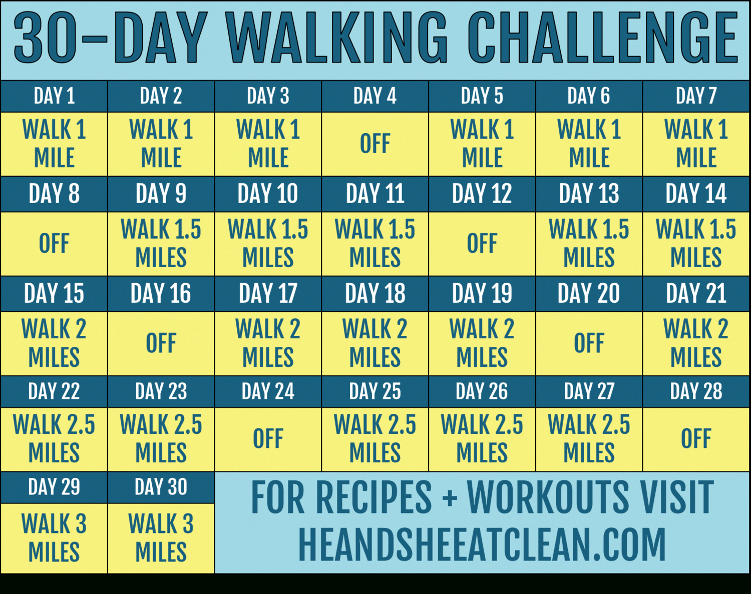 30-Day Walking Challenge With Printable Tracking Chart In
