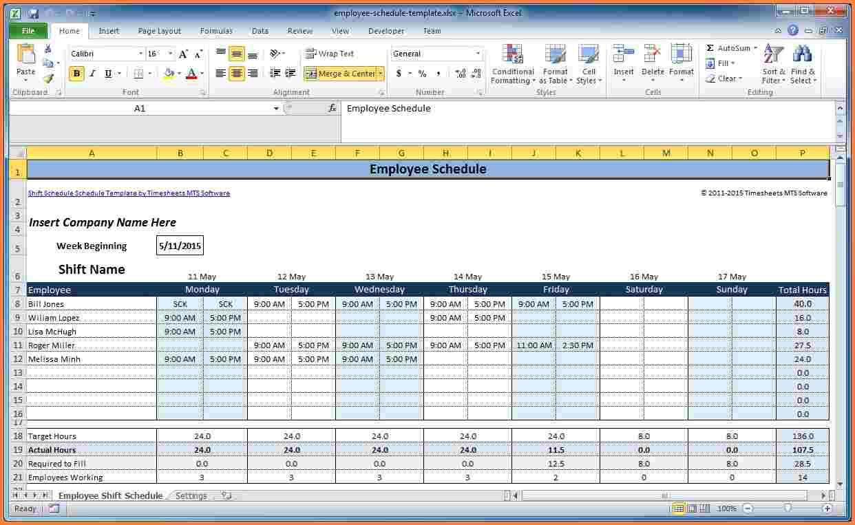 4+ Employee Schedule Excel Spreadsheet - Excel
