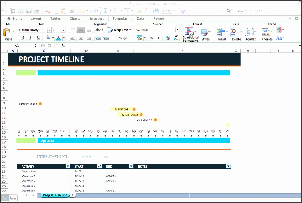 4 Project Timeline Excel Template - Sampletemplatess