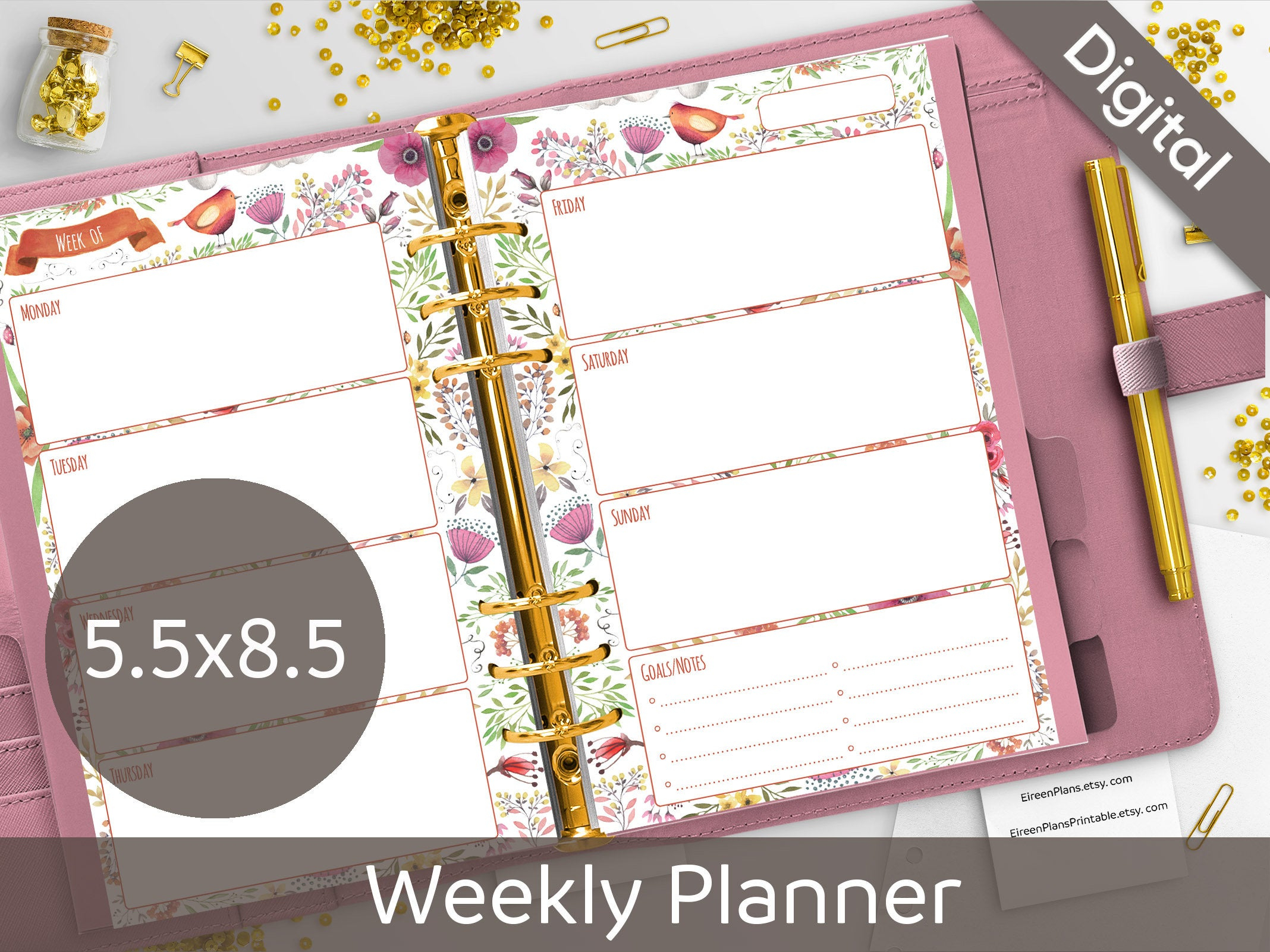 5.5X8.5 Weekly Planner Printable Undated Weekly Half Size | Etsy