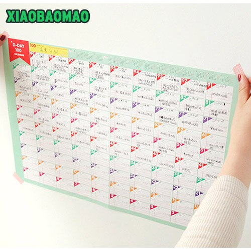 6 Sheets / Lot 100 Days Countdown Calendar Day Planner