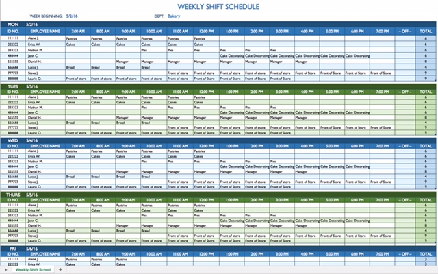 8 Hour Shift Schedule Template - Printable Receipt Template