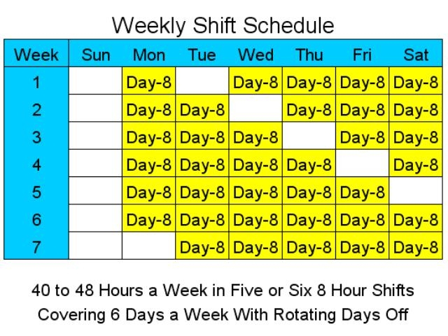 8 Hour Shift Schedules For 6 Days A Week - Standaloneinstaller