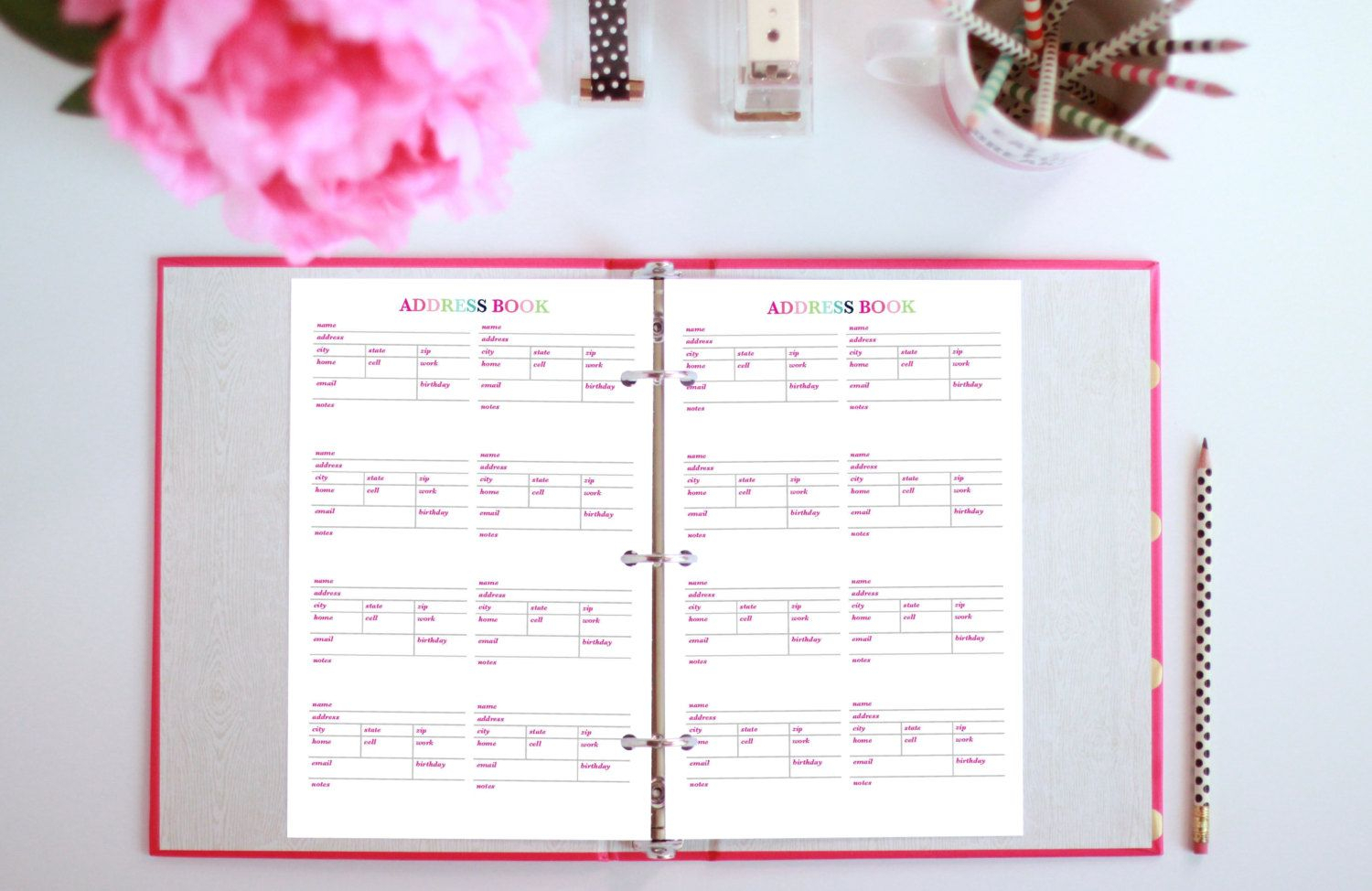 Address Book - Printable Planner Insert - Half Page Planner - 5.5X8.5In - Instant Download