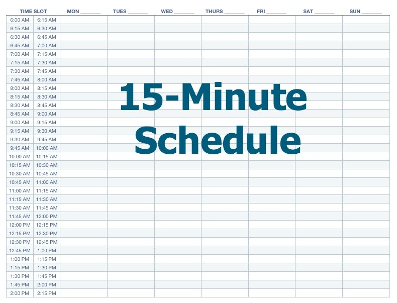 Appointment Schedule Template 15 Minute Increments | Printable Schedule Template