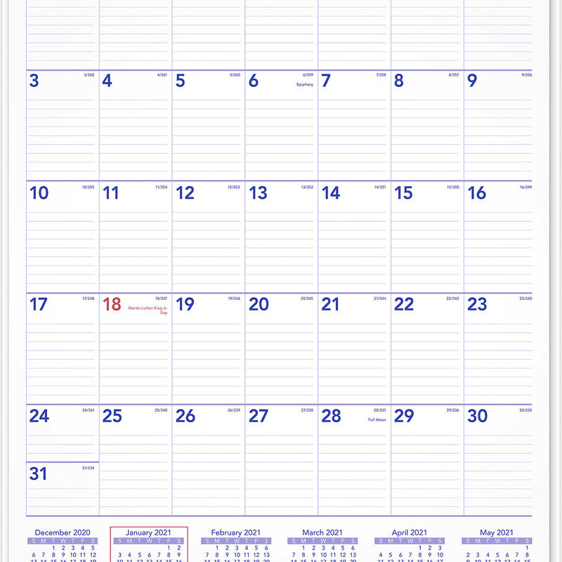 """At-A-Glance 2021 Monthly Wall Calendar 15.5"""" X 2.1"""" X . 3"""