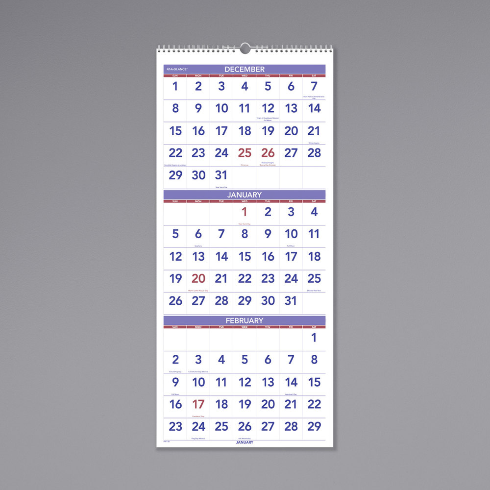"""At-A-Glance Pm1128 12"""" X 27"""" Vertical 3-Month Reference"""