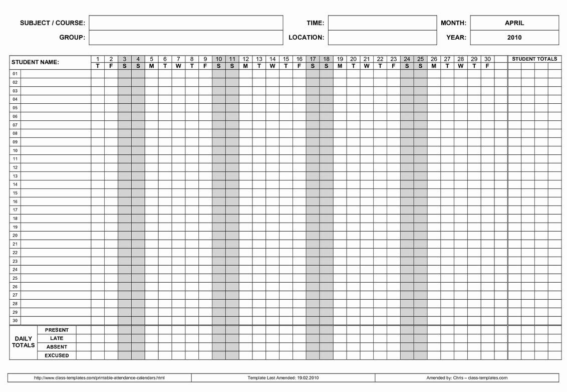 Attendance Calendars For Employee Template   Calendar