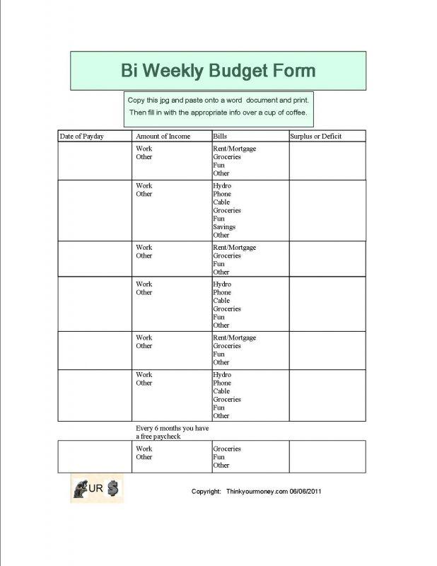 Bi-Weekly Budget Worksheet - Google Search | Weekly Budget