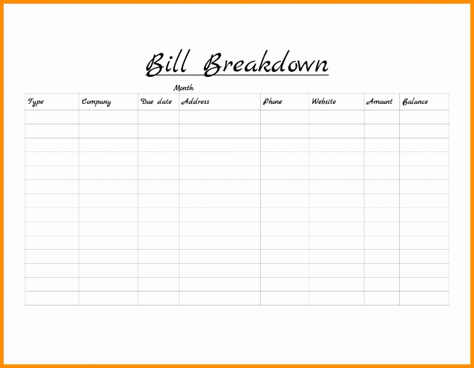 Bill Pay Schedule Spreadsheet Printable Spreadshee Bill