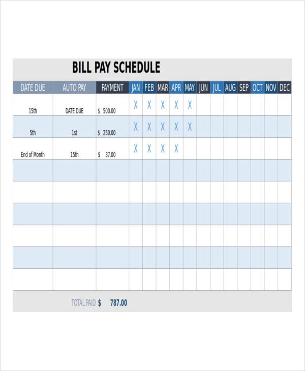 Bill Payment Schedule Template - 13+ Free Word, Pdf Format
