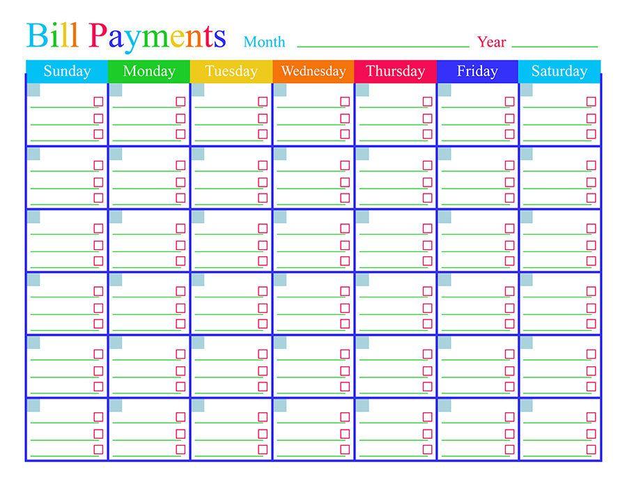 Bill Payments Calendar, Bills Tracker, Bill Calendar