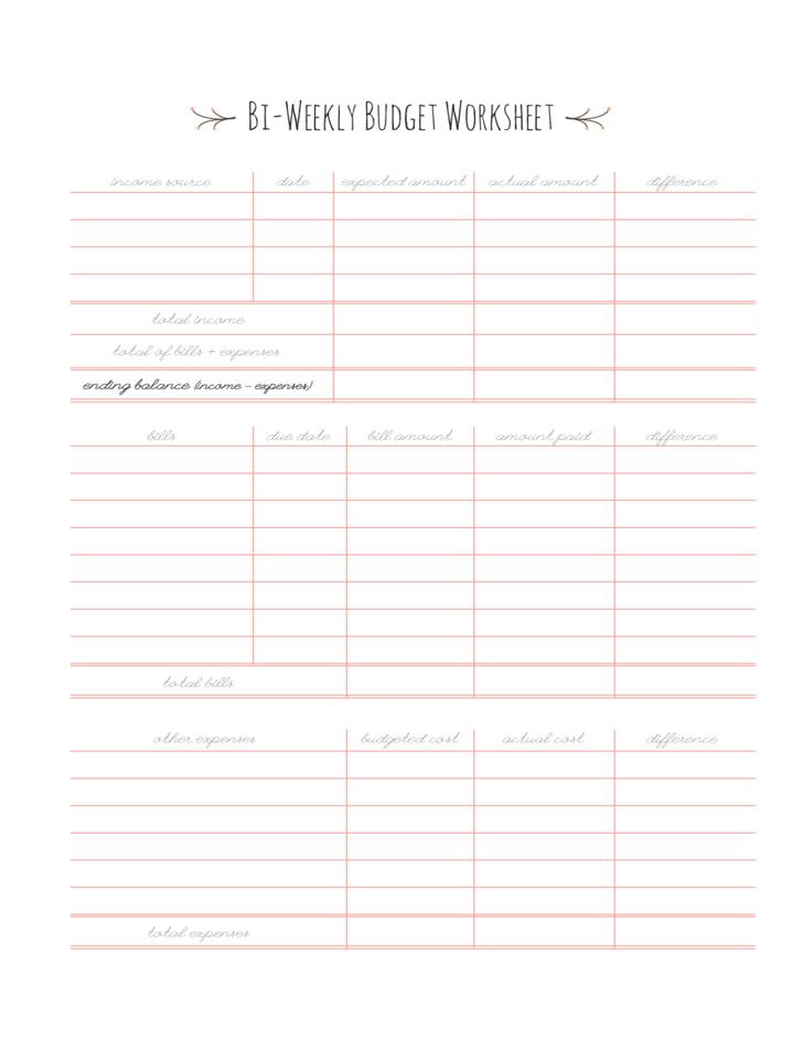 Blank Bi-Weekly Budget Worksheet Free Download